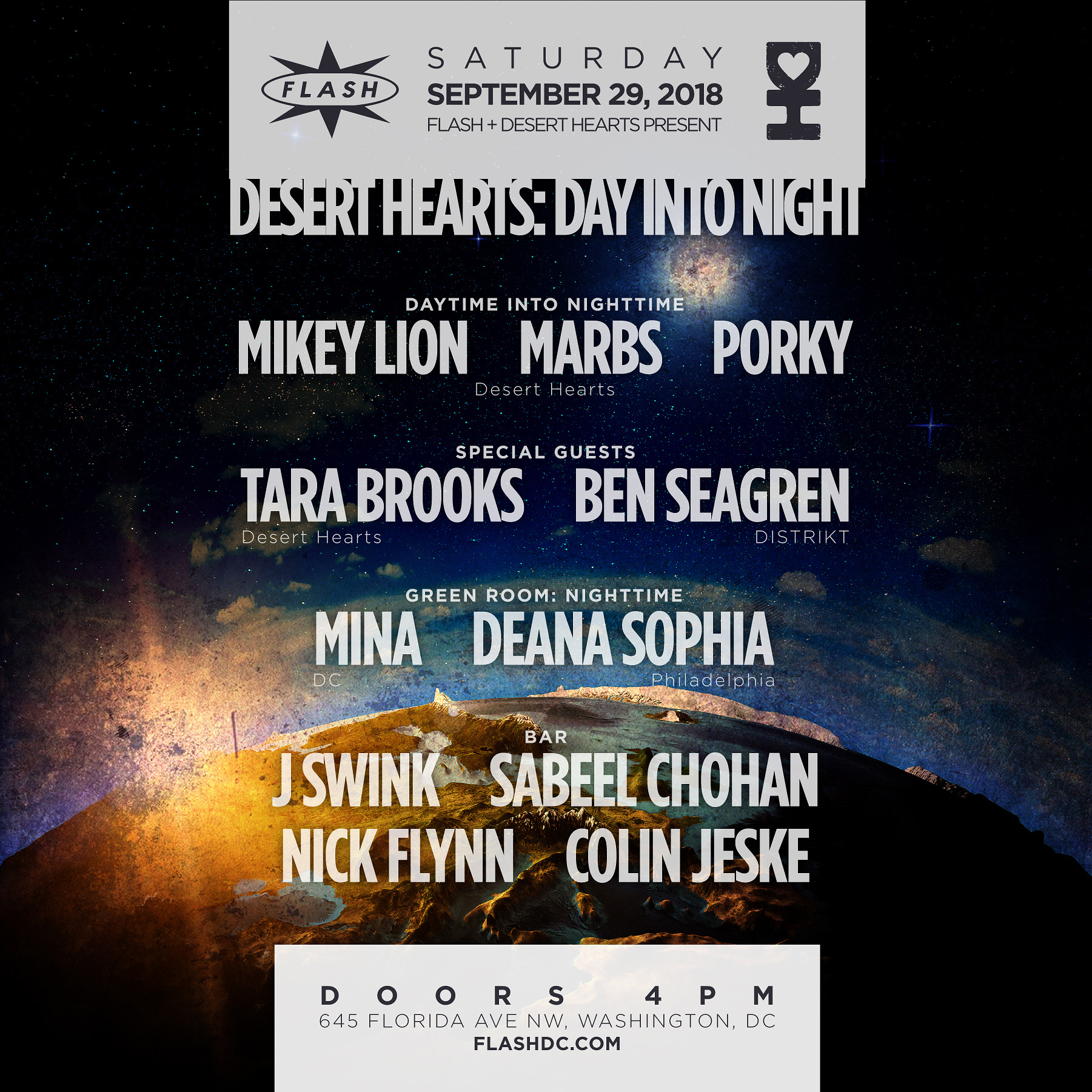 Desert Hearts Pres. Mikey Lion - Lee Reynolds - Marbs - Porky + Special Guest: Tara Brooks  event thumbnail