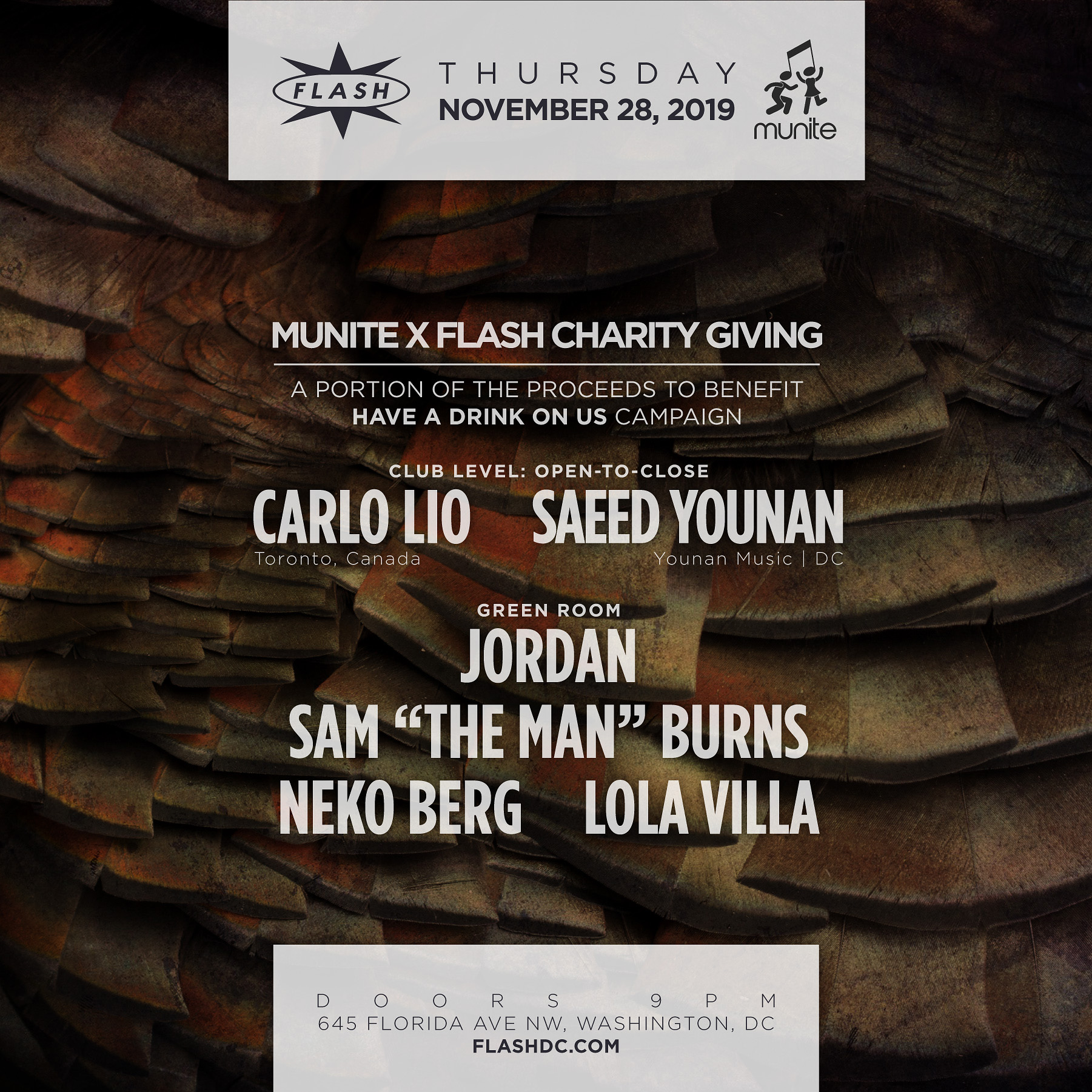 Munite x Flash Charity Giving: Carlo Lio - Saeed Younan + More event thumbnail
