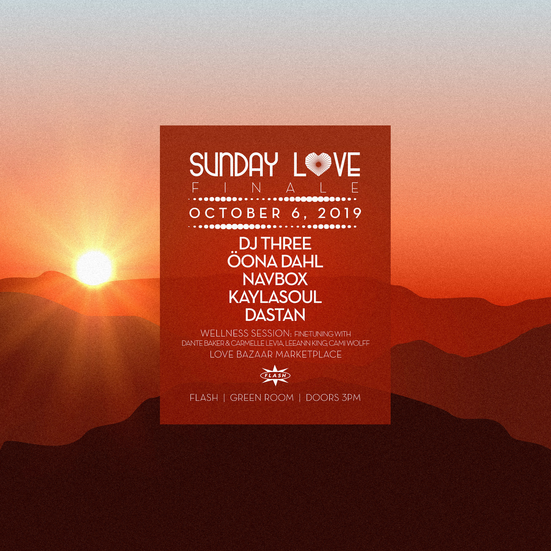 Sunday Love: The Finale:  DJ Three - Oona Dahl - Navbox event thumbnail