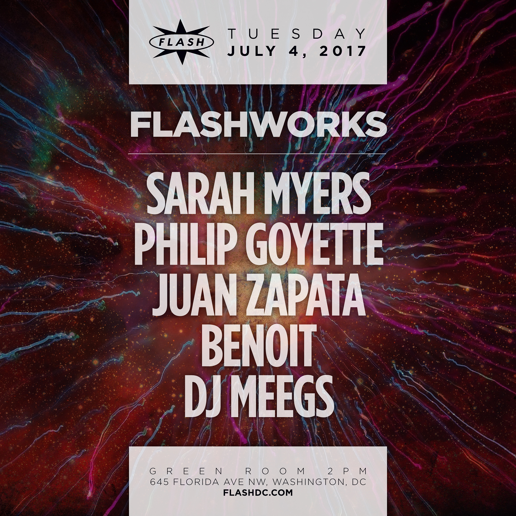 Flashworks: Sarah Myers - Philip Goyette - Team Zapata - Benoit - DJ Meegs event thumbnail
