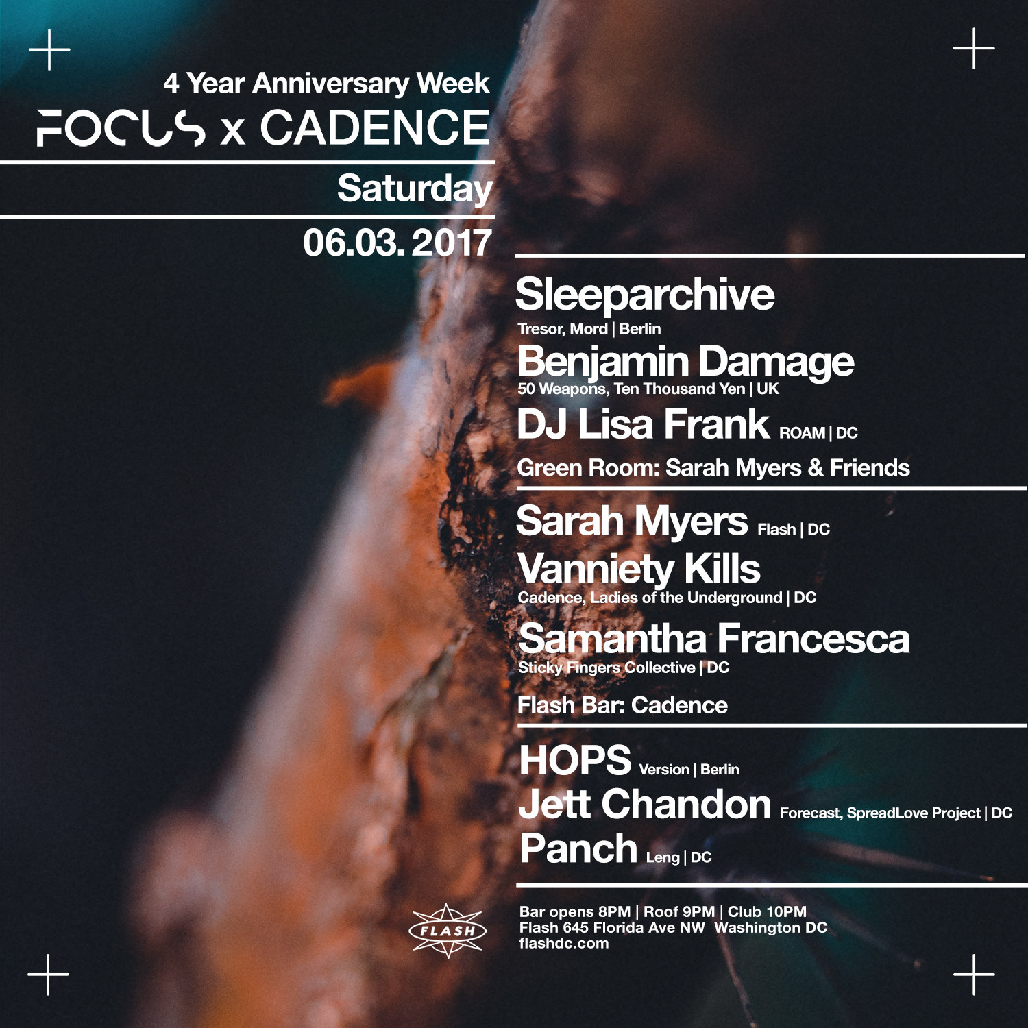 4 Year Anniversary Week: FOCUS x Cadence: Sleeparchive / Benjamin Damage / Hops ( Berlin ) / DJ Lisa Frank / Sarah Myers & Friends event thumbnail