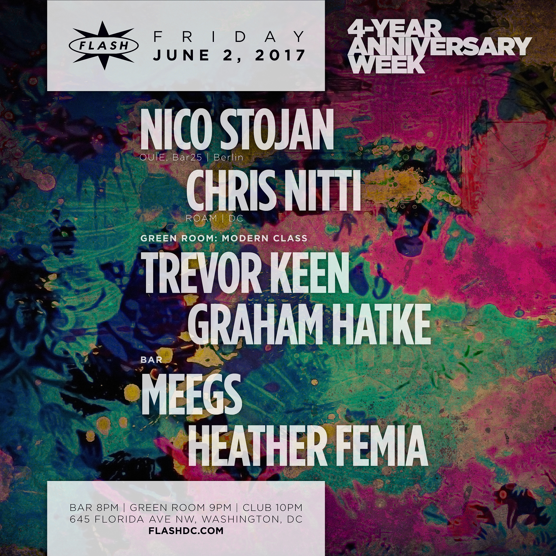 4 Year Anniversary Week: Nico Stojan / Chris Nitti / MOdERN CLASS / Heather Femia / DJ Meegs event thumbnail