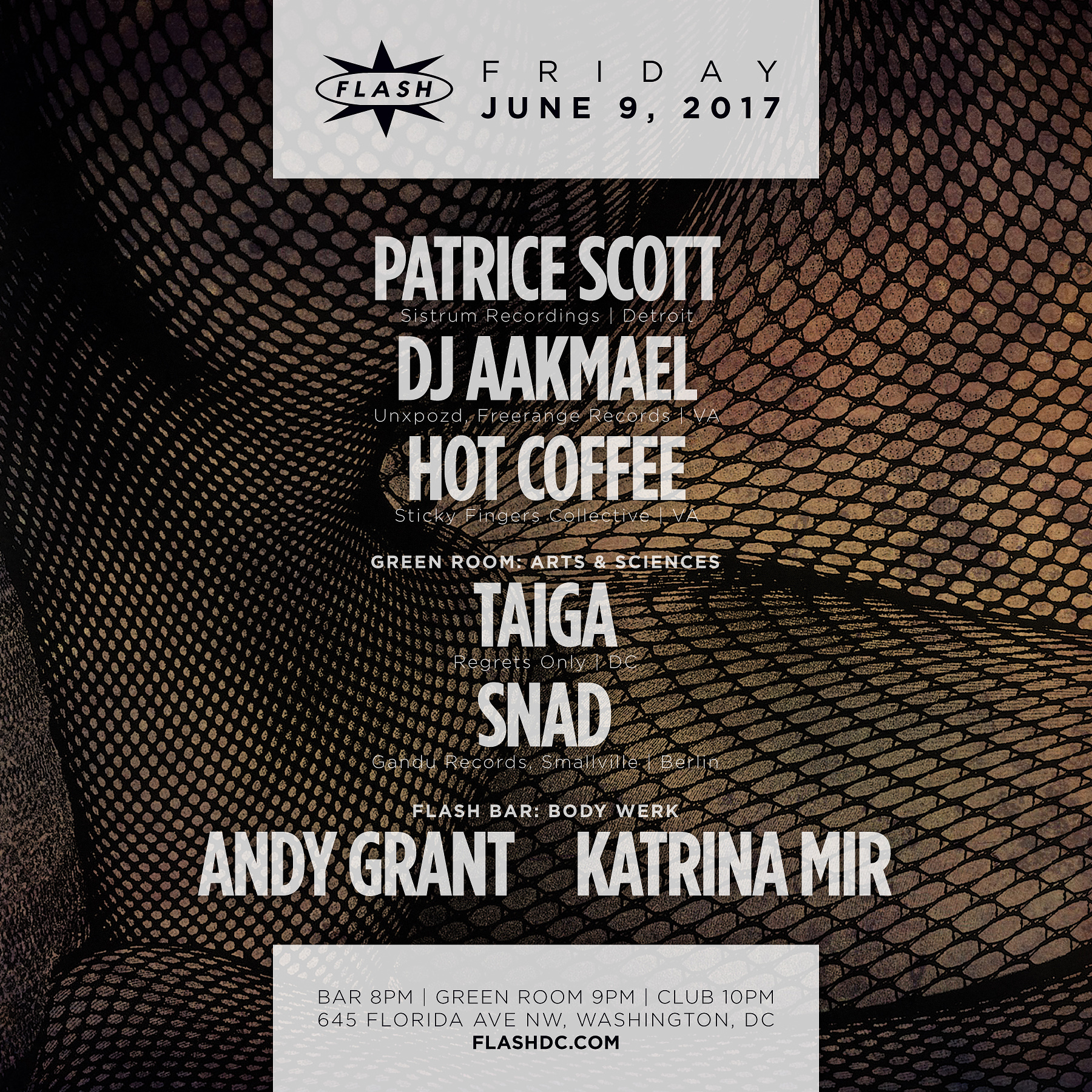 Patrice Scott / DJ Aakmael / Hot Coffee / Arts & Sciences / Body Werk event thumbnail